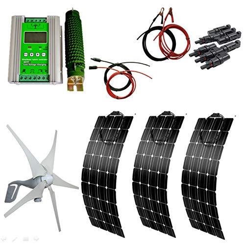 AUECOOR 700W Wind-Solar-Generator-Set: 3 x 100 W Solarpaneele & 400 W Windturbinen-Generator & Hybrid-Controller für Wohnmobil, Camping, Boot, Wohnwagen, Wohnmobil