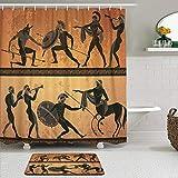 SUDISSKM de alfombras de baño con Cortinas de Ducha Alfombrillas de baño Antideslizantess,Antigua Grecia Figura Negra cerámica Caza para minotauro Dioses Guerrero centauro Estilo Griego clásico