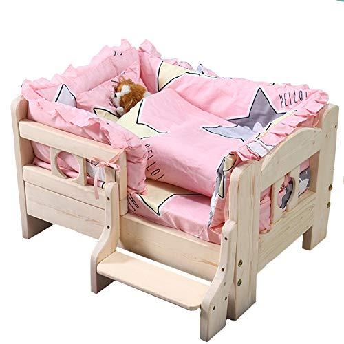 OO PET rosa Hundebett Holz, abnehmbar und waschbar, Zwinger Band Matratze, Leitplanke, Treppen für große Hunde und Welpen Hundemöbel Zubehör Zwinger