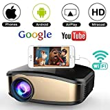 WiFi Movie Projector, WEILIANTE 50% Brighter LED Portable Mini Video Projector, WiFi Directly...