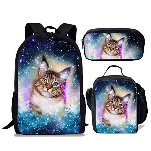 chaqlin Sac à dos tendance en forme d'animal galaxie pour garçons et filles, (3 pièces) chat...