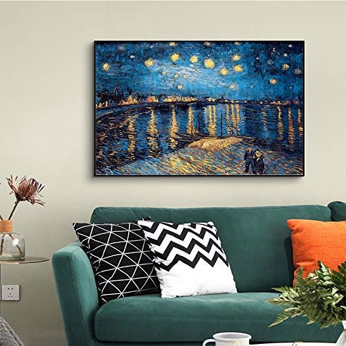 wZUN La Famosa Pintura de Van Gogh, la Noche Estrellada, la Pintura al óleo impresionista, Carteles e Impresiones en Cuadros de Lienzo para Decorar la Sala de Estar 60x90 Sin Marco