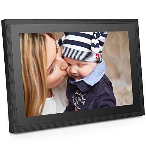 10.1 Inch Wi-Fi Cloud Digital Picture Frame with IPS high Resolution Touch Screen Support Email APP with 16GB Internal Storage and Motion Sensor (Black)