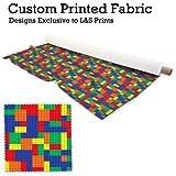 Bunte Baustein Design Digital Print Stoff Microfaser Peachy