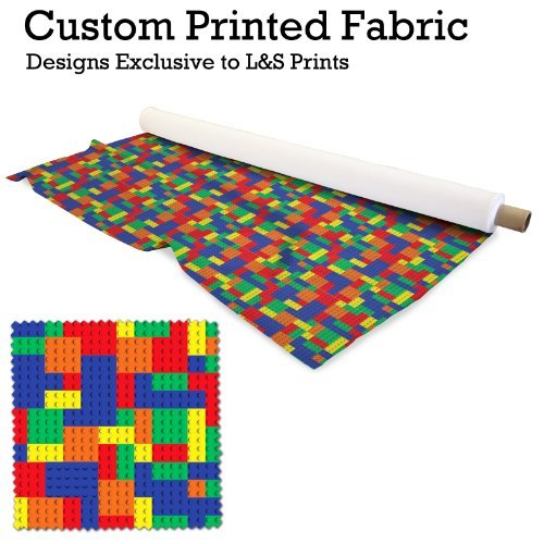Bunte Baustein Design Digital Print Stoff Microfaser Peachy 144,8cm Breite hergestellt in Yorkshire