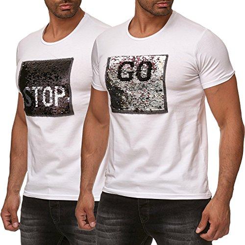 Red Bridge Herren T-Shirt Wende-Pailletten Emoji Stop & Go Shirt Weiß M