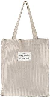 Ulisty Damen Große Cord Schultertasche Lässige Handtasche Mode Schultasche Umhängetasche Aprikose