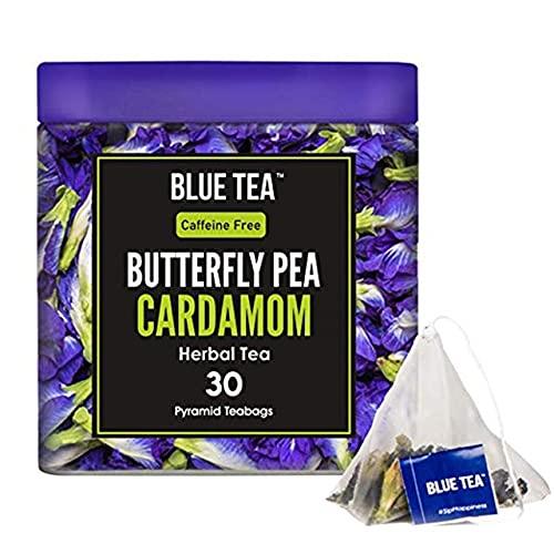 BLUE TEA -Schmetterlingserbsenblüte Kardamom Kräutertee - 15 Pyramidenteebeutel (30 Tassen) | Premium Blechpackung |