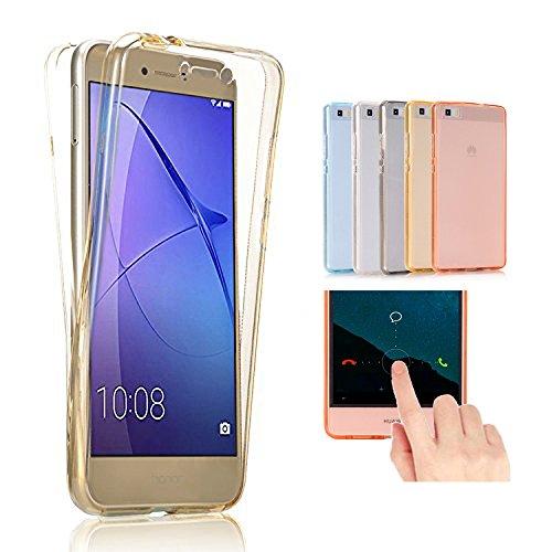 2ndSpring Huawei G8 / GX8 Hülle Case komplette Schale Ultra Slim Full Body 360 °TPU Silikon Cover Huawei G8 / GX8 Handy Tasche Schutz Etui Bumper Front Back doppelseitig,Gold