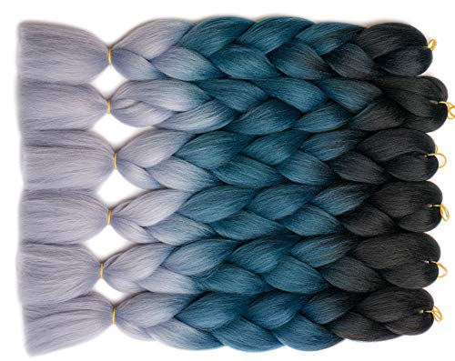 "Jumbo Braids Hair Extensions 24"" 5Pcs/Lot 100g/pcs Ombre Color 3 Tone Black/Blue/Silver Grey BlondWigs Synthetic High Temperature Fiber for Crochet Twist Braiding Hair"