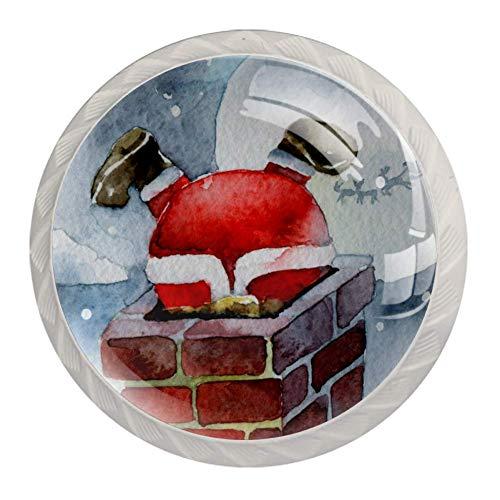 Perillas de puerta para chimenea de Santa Claus 4 piezas redondas de...