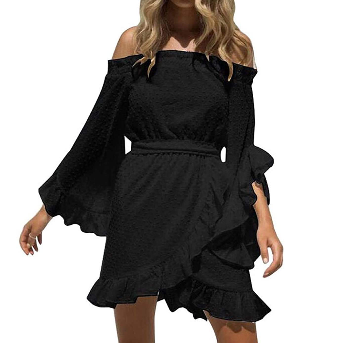 Ximandi Women's Comfy Chiffon Slash Neck Flare Sleeve Ruffle Dot Cut Flower Tunic Dress