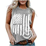 Dosoop 4th of July Tank Top Women American US Flag Graphic Patriotic Crewneck Sleeveless T Shirt Stars Stripes Summer Vest