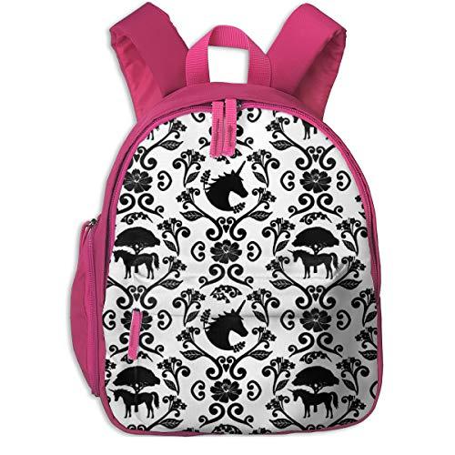 Kinderrucksack mädchen,Unicorn Damask (Small Scale) _5096 - Moonpuff, Für Kinderschulen Oxfordstoff (pink)