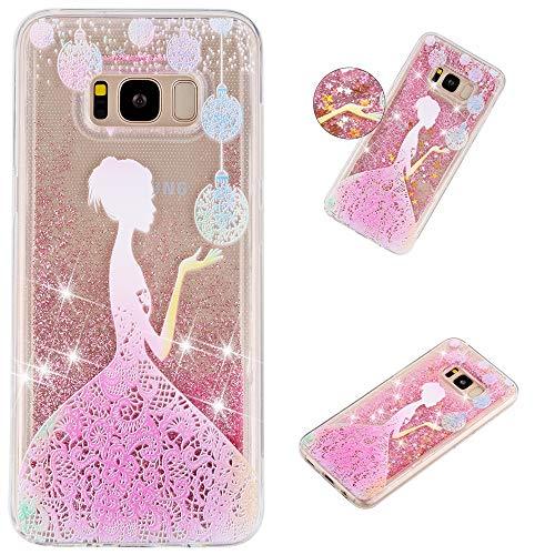 Miagon Flüssig Hülle für Samsung Galaxy S8 Plus,Glitzer Weich Treibsand Handyhülle Glitter Quicksand Silikon TPU Bumper Schutzhülle Case Cover-Mädchen Blume