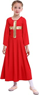 MYRISAM Girls Praise Cross Robe Worship Long Dress Bell Sleeve Liturgical Loose Fit Wide Swing Dancewear Praisewear