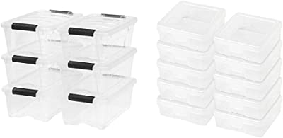 IRIS USA, Inc. TB-42 12 Quart Stack & Pull Box, Clear, 6 Stack and Pull with IRIS Small Modular Supply Case, 10 Pack, Clear