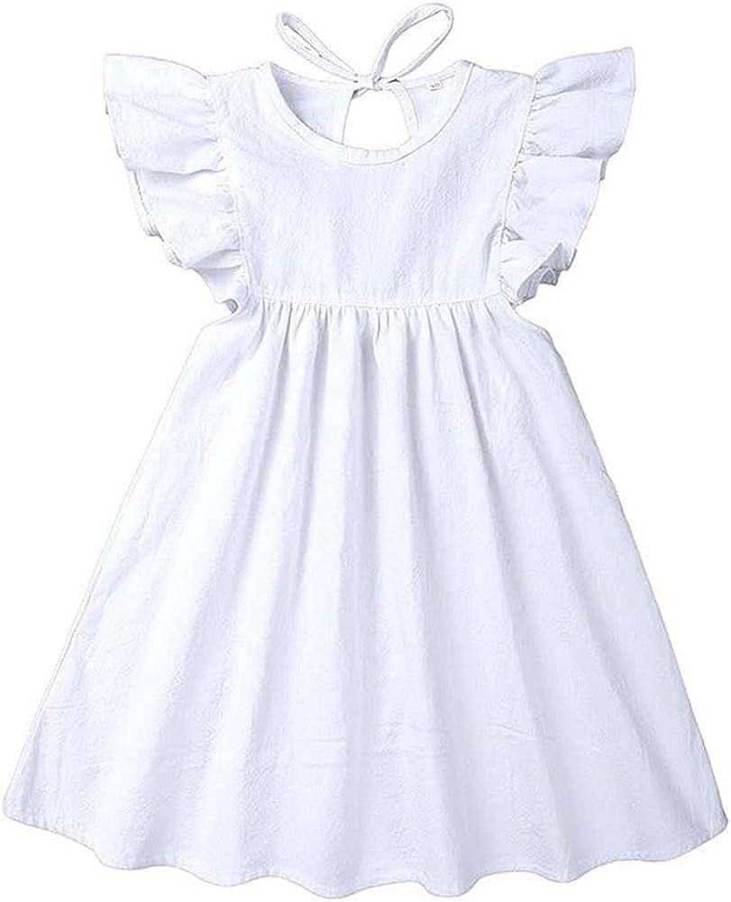 Toddler Baby Girl Dress Summer Washington Mall Cotton Ruffle Sleeve Linen Halter cheap