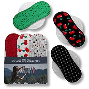 Reusable Sanitary Towels, 6-Pack Cotton Reusable Cloth Pads with Wings (Size S & M), Washable Panty Liners Made in EU, Sanitary Napkins for Menstrual Periods and Incontinence; EXTRA Wet Bag with Strap