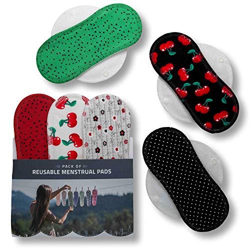 Compresas de tela reutilizables, pack de 6 compresas ecologicas de algodón puro con alas...