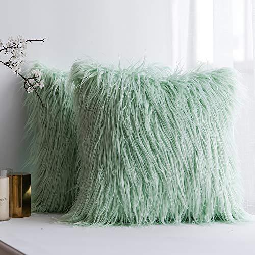 MIULEE Juego de 2 Funda de Almohada Cojines de Piel Decorativos Cuadrados y Suaves Cojines PeloPara la Decoración del Hogar Sofá Cama del16x16 Pulgadas 40x40cm Verde Claro