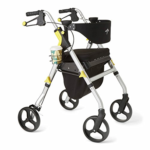 Medline Premium Empower Rollator Walker with Seat, Folding Rolling Walker with 8-inch Wheels, Silver