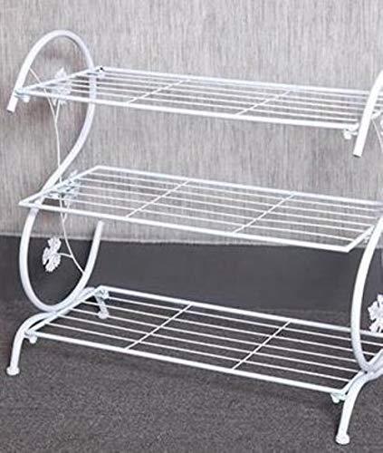 Estante de almacenamiento de tres capas de metal retro zapatero zapatero salón almacenamiento estante-blanco, M