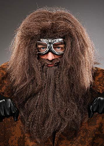 Magic Box Mens Hagrid Style Krause braune Perücke und Bart
