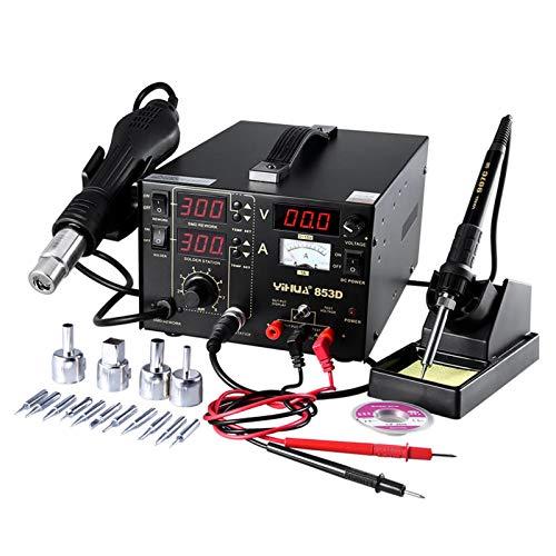 Preisvergleich Produktbild Mbuynow YIHUA Digital Lötstation 853D 765W,  3 in1 SMD Lötstation Lötkolben Entlötstation Heißluft, SMD Rework Station Lötset mit 11 Spitzen+ 4 Düsen,  elektronisch temperaturgesteuert,  LCD-Anzeige