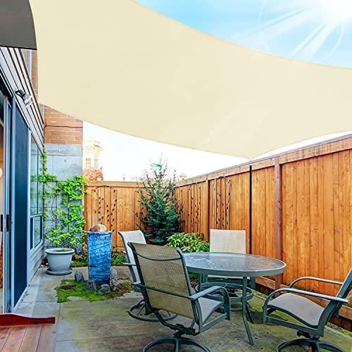 OKAWADACH Toldo Vela de Sombra Rectángulo 3 x 4m, Vela de Sombra Protección UV para Patio, Exteriores, Jardín, Beige Claro