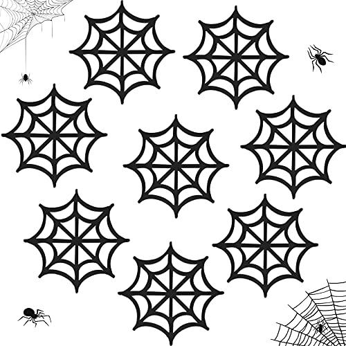 Halloween Black Spiderweb Coasters,Wooden Halloween Coasters Horror Spooky Coasters Decor for Gothic Home Bar Halloween Party Decoration Supplies (8 Pieces in box)