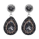 BriLove Natural Druzy Earrings for Women Bohemian Boho Crystal Teardrop Infinity Dangle Earrings Black w/Champagne Silver-Tone
