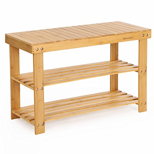 SONGMICS Shoe Rack Bench, 3-Tier Bamboo Shoe Organizer Storage Shelf, Holds 264 lb, Natural ULBS04N