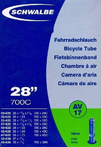 "Schwalbe - Cámara de aire para bicicleta (válvula de auto, AV17, 27"", 28"", 28/47-622/635 mm, 28 x 1 1/4 - 1,75"")"