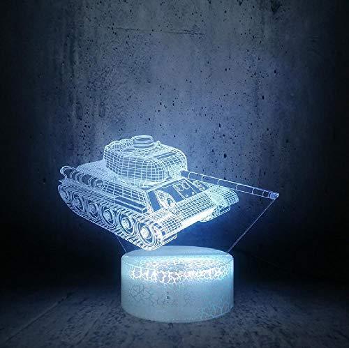 Tanque de seis ruedas 3D LED luz nocturna regalos para los aficionados militares de la habitación de los niños bombilla de la luz de la luna, teléfono con control remoto Bluetooth colores