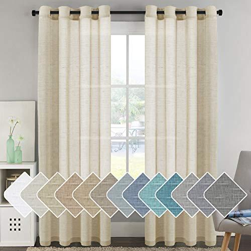 H.VERSAILTEX Elegant Natural Linen Curtain Panels Energy Efficient Semi - Sheers Linen Curtains/Nickel Grommet Window Treatments Panels/Drapes (Set of 2, Butter, 52 by 96 Inch)