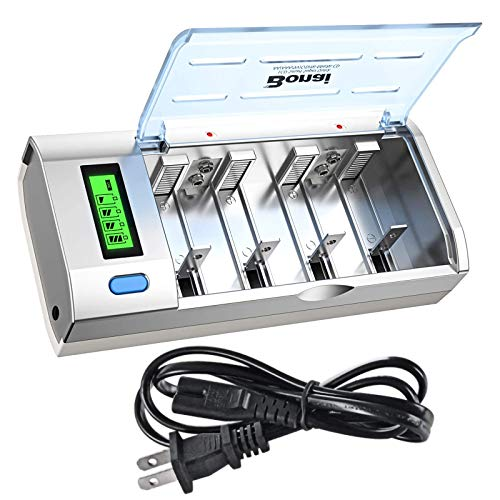 BONAI LCD Universal Battery Charger for AA, AAA, C, D, 9V Ni-MH Ni-CD Rechargeable Batteries with Discharge Function