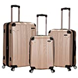 Rockland London Hardside Spinner Wheel Luggage, Champagne, 3-Piece Set (20/24/28)