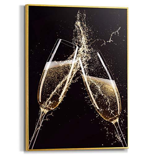 Schilderij Slim Frame Champagne Drank - Champagneglazen - Proost - Feest - 30 x 40 cm Keuken