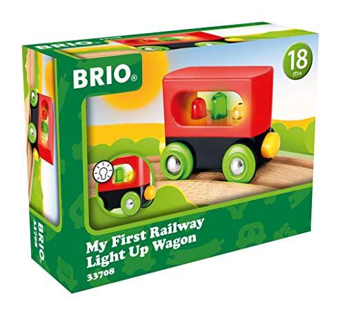 BRIO - 33708 - Mon Premier Wagon Lumineux - My First Railway - Wagon avec fonction lumineuse - Accessoire pour circuit de train en bois - Jouet pour garcons et filles dès 18 mois
