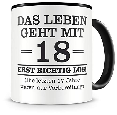 Samunshi® Tasse mit Spruch witzige Geschenke zum 18 Geburtstag Mann Frau Oma Opa Geburtstag Geschenkideen zum 18 Geburtstag 18 Jahre 300ml schwarz