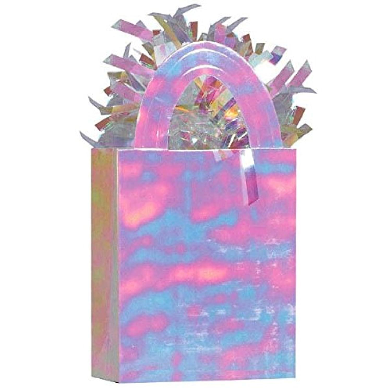 Amscan Iridescent Mini Tote Bag Birthday Balloon Weight, 5.7 oz, Bright Opal