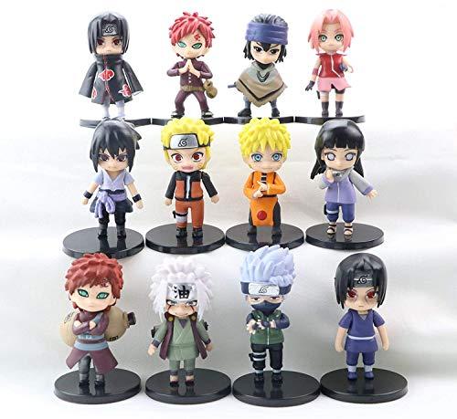 IWBI 12 PCS Naruto Sasuke Figurine Pop Set de Petites Figurines Jouet D'échecs À Collectionner Gaara Akatsuki Version Modèle