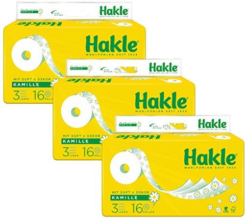Hakle Toilettenpapier Kamille, 1 x Vorratspack mit 48 Rollen (3 x 16 Rollen)