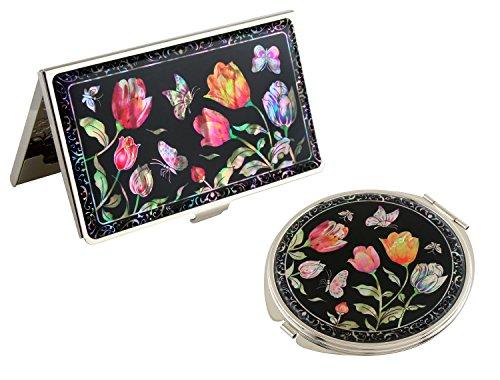 Porte-cartes de visite en acier inoxydable avec motif tulipe nacré et miroir compact