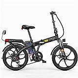 MQJ Ebikes Bicicletas Eléctricas Rápidas para Adultos 20 Pulgadas Bici de Montaña Eléctrica Plegable para Adultos con Batería de Iones de Litio 48V Extraíble E-Bike 250W Motor Potente 7 Cambio de Vel