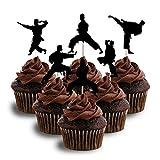 Karate TaeKwondo Martial Arts Silhouette Cupcake Topper Cardstock 12 per Pack Cupcake