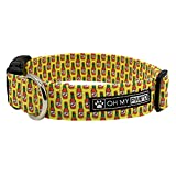 Hot Sauce Collar for Pets Size Medium 3/4 Inch Wide and 13-20 Inches Long - Hand Made Dog Collar by Oh My Paw'd