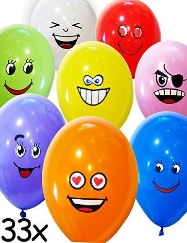HomeTools.eu® - 33 Stück Smiley Luft-Ballons, lustige freche Smile Emoji Gesichter, aufblasbar 30cm, Deko Party Fasching Hochzeit, Kinder-Geburtstag, bunt, 33er Pack