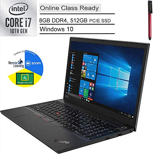 2020 Lenovo ThinkPad E15 15.6' FHD Business Laptop Computer, 10th Gen Intel Quad-Core i7 10510U Up to 4.9GHz, 8GB DDR4 RAM, 512GB PCIe SSD, AC WiFi, Fingerprint Reader, Windows 10 Pro, BROAGE USB Pen